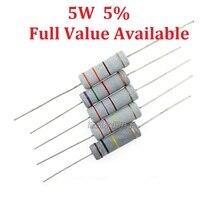 10 шт./лот 5 Вт 4.7r/5.1R/6.8R/10R/12R Металл резистор 4.7/5.1/6.8/ 10/12 Ом 5% 0.25 Вт резисторы 5 Вт сопротивление цвет кольцо