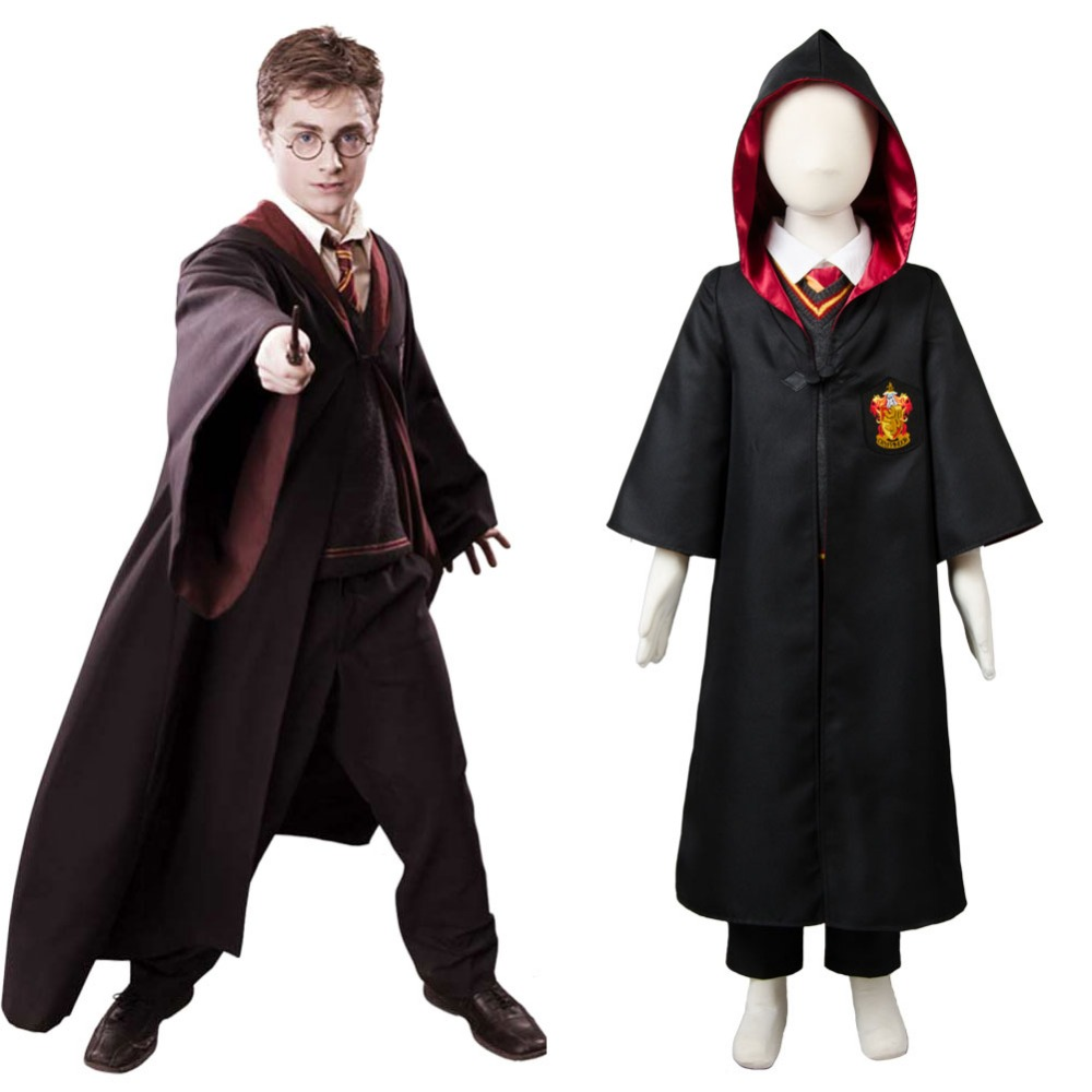 Kid Gryffindor Robe Costume Child School Uniform Cloak Hermione Granger Cosplay Costume Robe Outfit Free Shipping