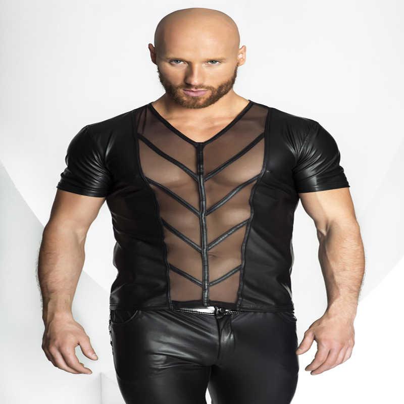 Сексуальное женское белье Европа Сексуальная ПВХ резиновая латексная Мужская футболка эротическая майка для геев подтяжки Фетиш X6727