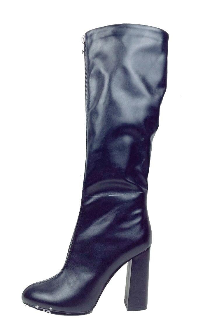 2018 Womens Square Heel Platform Zipper Winter Boots Plus Size Knee High Block Heel Casual Ladies Boots Shoes For Party Street plus size oblique zipper color block hoodie