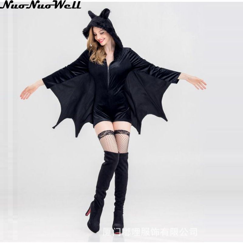 <font><b>Halloween</b></font> <font><b>Sexy</b></font> <font><b>Vampire</b></font> <font><b>Costume</b></font> Women Black Evil Bat <font><b>Costume</b></font> Clothes Masquerade Carnival Role Playing <font><b>Vampire</b></font> <font><b>Costumes</b></font> image