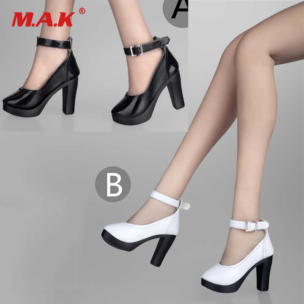 50b1f3d9b1a 1/6 Scale Female Black/White Colors High Heel Shoes Boots Model Accessories  Toy