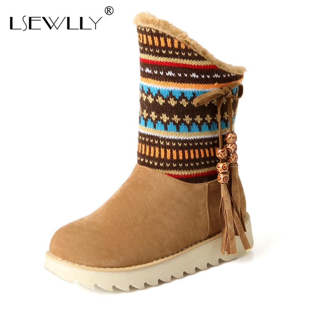 Lsewilly Snow Boots plattform kvinnor vinterskor vattentäta fotstövlar spetsar pälsstövlar bruna svarta stövlar stor storlek AA556