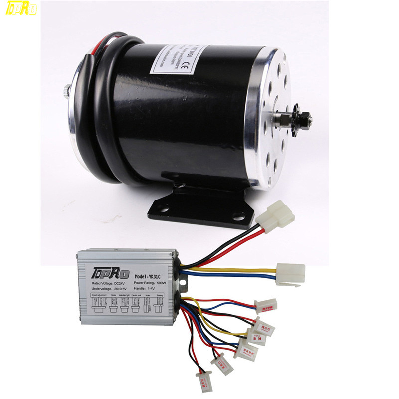 Original New 24V 500W Motorcycle Electric Brush Motor Starter and Controller for Scooter Razor E300 ATV Go Kart Moto Bike цена