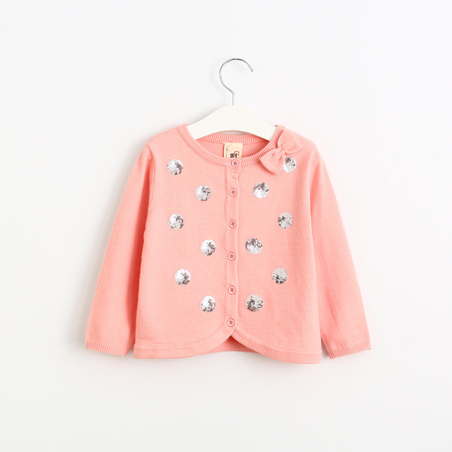Baby girl Fall cotton sweater cardigan children Sequin Polka Dots knitted