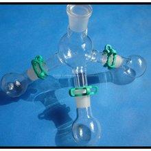 Лабораторный приёмник для дистилляции с тремя флягами объемом 50 мл, лабораторная стеклянная посуда