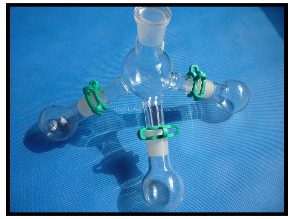 Récepteur de Distillation à courte distance de laboratoire avec trois flacons de 50 ml, verrerie de laboratoire