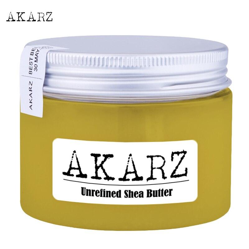 AKARZ marca Não Refinado Manteiga de Karité origem da África Ocidental de alta qualidade sólido Amarelo produtos de cuidados Da Pele Cosméticos de matérias-primas à base de óleo