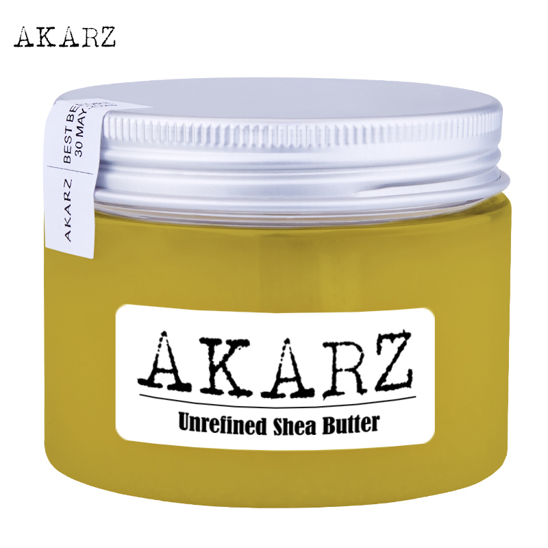 AKARZ marca sin refinar manteca de karité de alta calidad origen West Africa amarillo productos de cuidado de la piel sólida cosmética materias primas aceite base