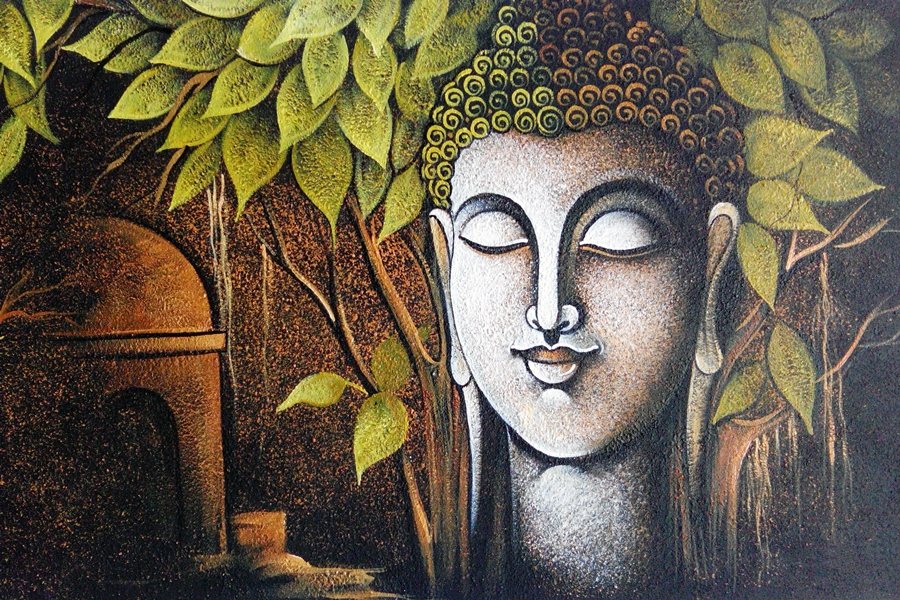 3d Wallpaper For Home Wall India God Buddha Religion Artwork Paint Thinking Man Living Room