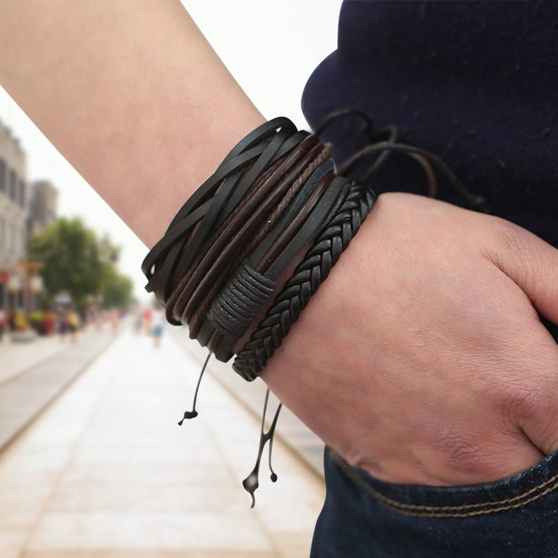 Bracelets & Bangles mens leather bracelets 2018 Pulseira Masculina Jewelry Charm Bileklik Pulseiras Boyfriend Girlfriend buy mens string bracelets