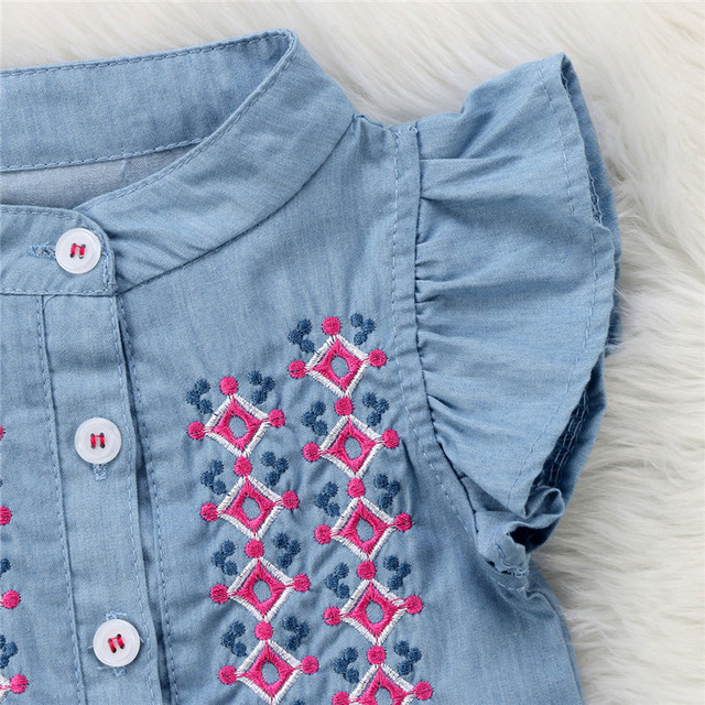 0-24M Newborn Baby Girl embroidery Romper Fly Sleeve Denim Clothes Cute Bebes Summer Outfit Sunsuit Jumpsut 2018