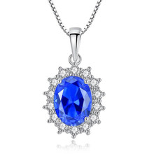 Diana William Engagement Wedding Created Sapphire Necklace Jewelry 925 Sterling Silver Pendant Necklace With 45cm Box Chain jewelrypalace luxury pear cut 7 4ct created emerald solid 925 sterling silver pendant necklace 45cm chain for women 2018 hot