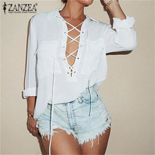 ZANZEA Blusas 2017 Women Turn Down Collar Chiffon Shirt Sexy Deep V Front Lace Up Long Sleeve Blouse Casual Tops Plus Size S-3XL