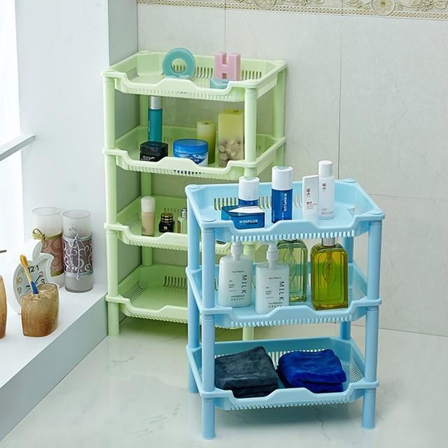 € 9.67  T cuadrado baño estante de almacenamiento de plástico cuarto de  baño cocina rack de almacenamiento de estanterías en Soportes y ...