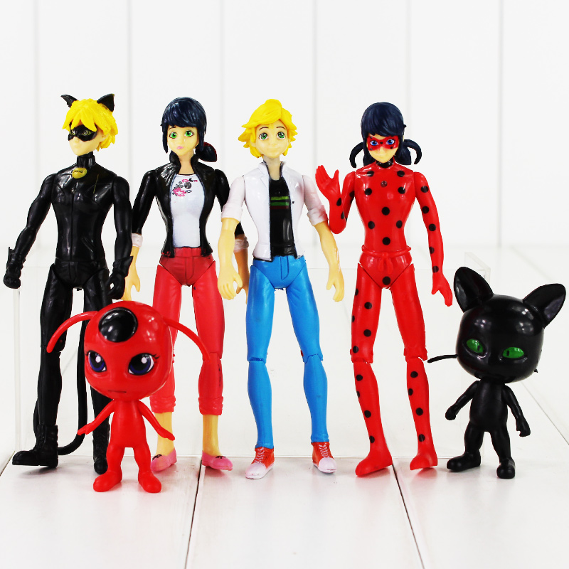 Large size 6pcs/lot Miraculous: Tales of Ladybug & Cat Noir Adrien Marinette Plagg Tikki PVC Figure Toy профессиональный разводной ключ 8 truper pet 8 15501