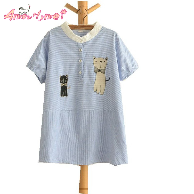 Summer New Women Cute Japanese Style Mori Girl Cotton Stand Collar Cartoon Cat Embroidery Short-sleeved Striped Shirt Tops