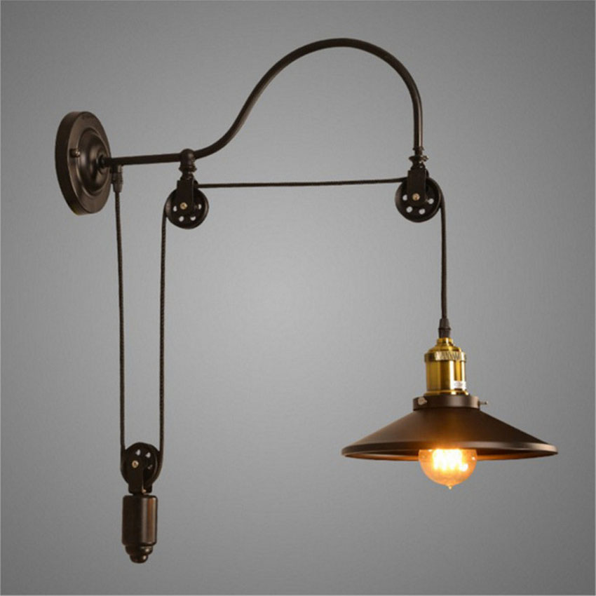 Loft vintage wall light for restaurant stairscreative retro wall loft vintage wall light for restaurant stairscreative retro wall lights telescopic lifting wall sconces pulley light fixtures in led indoor wall lamps from aloadofball Choice Image