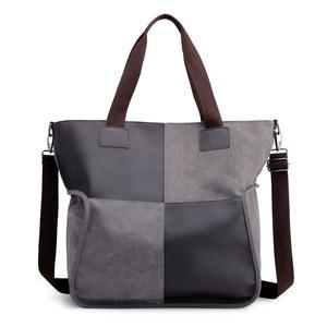 Image 1 - 2020 Vintage قماش المرأة حقيبة يد حقيبة يد عادية مبطن سعة كبيرة السيدات حقيبة يد طالب كلية حقيبة كتف عبر الجسم