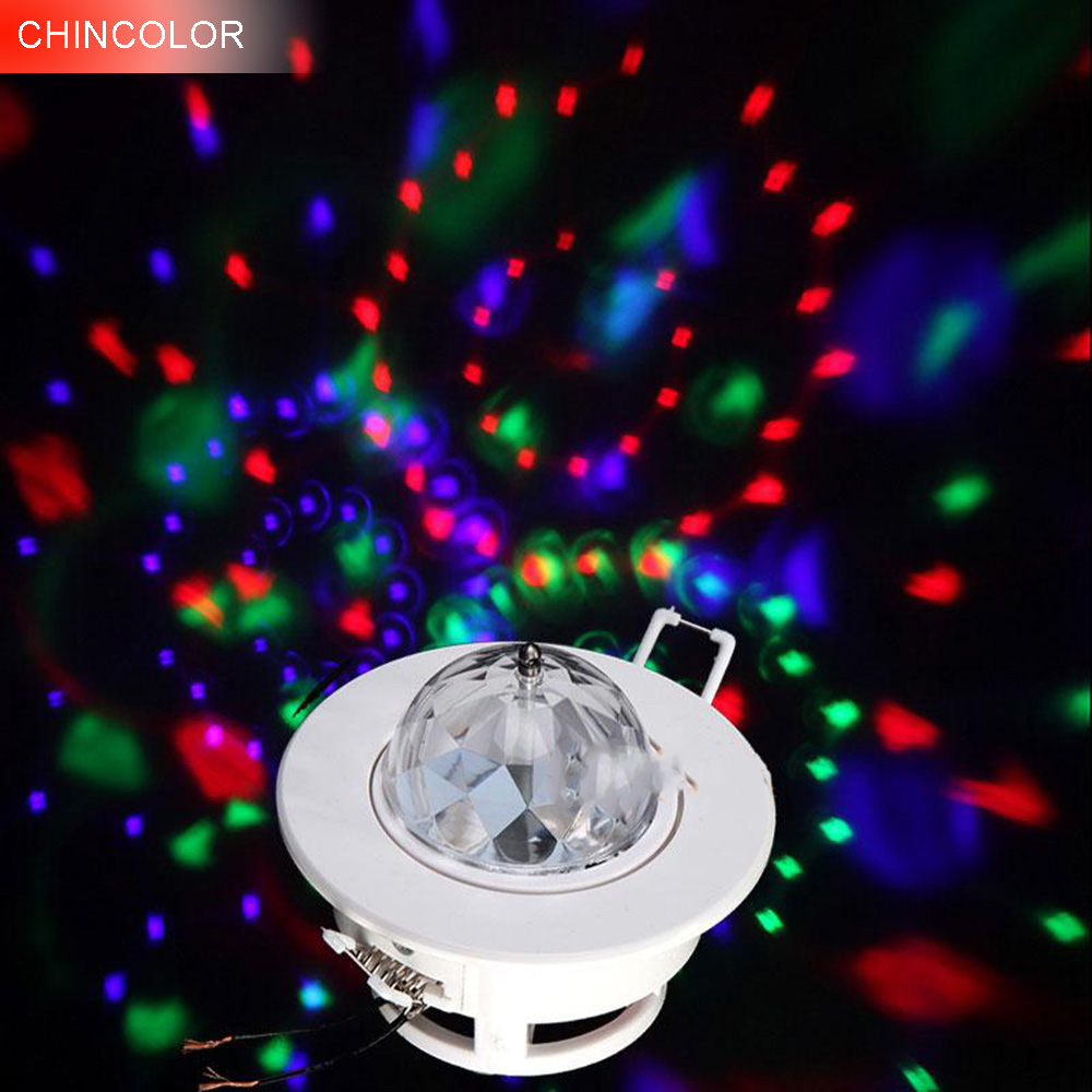 Downlight Recessed Light In DJ Stage Lights 3W Led  AC85-265V RGB Color Sound Actived Crystal Magic Mini Disco Ball Led DA