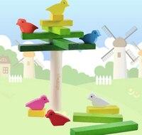 شحن مجاني ميزان التراص لعبة الطيور اللبنات الاستخبارات خشبية لعب الأطفال هدية عيد الإبداعي ألعوبة