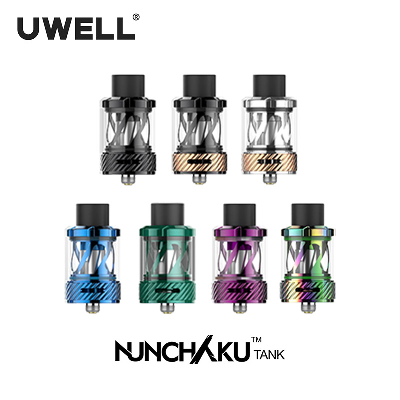 In Stock!!! UWELL NUNCHAKU Tank 2ml/5ml Tank 7 Colors Electronic Cigarette Accessory Plug-pull Coils Large Clouds Subtank