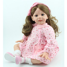 60cm Baby Reborn Menina Silicone Dolls 24inch Boneca Girl Long Hair Adora Doll Christmas Toys for Girls Juguetes