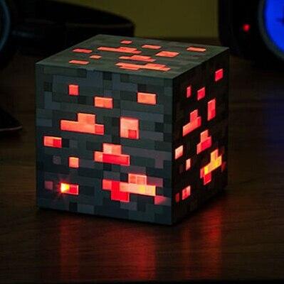 Minecraft Свет Популярные Игры Редстоун Руды Площадь Minecraft Ночь светодиодная Minecraft Фигура Игрушки Свет Алмаза Руды # E