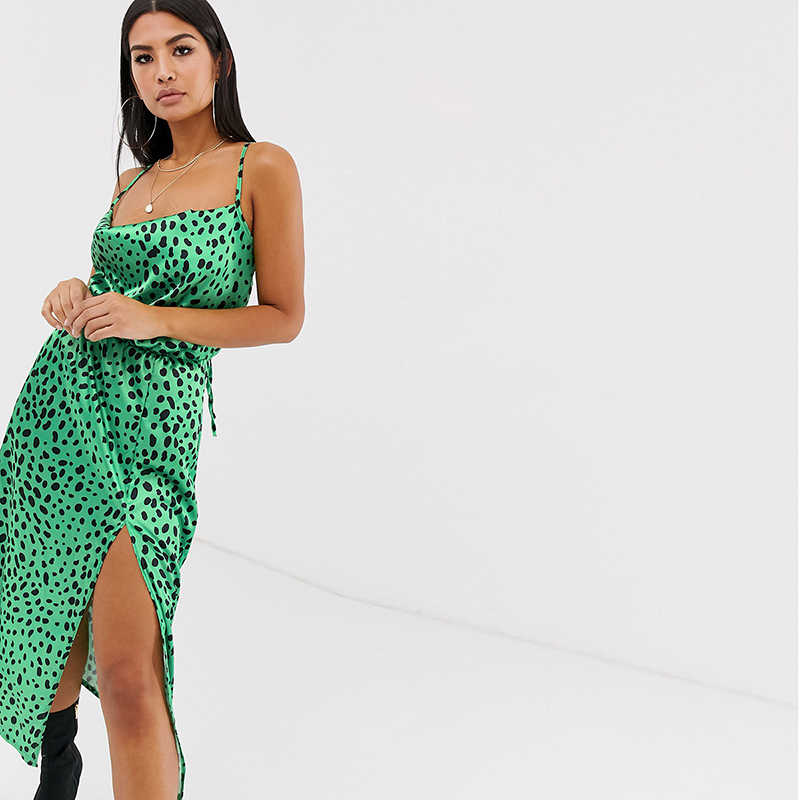 HDY Haoduoyi  красивое летнее атласное платье для женщин на тонких бретелях с открытой спиной, повседневное модное платье длины миди без рукавов с разрезом, сексуальное платье с леопардовым принтом на лето