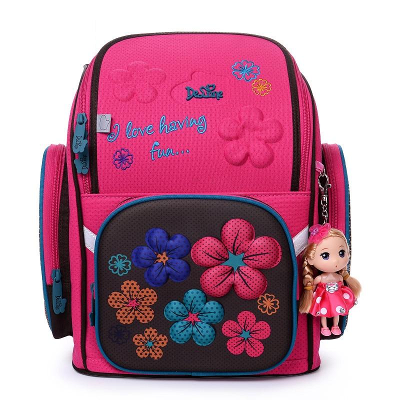 2019 Delune Shcool Bag for Girls 3D Bear Pattern Print Cartoon Backpack Children Orthopedic Floral Book Bags New Arrival