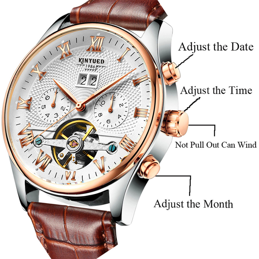 KINYUED 2019 Skeleton Tourbillon Mechanical Watch Automatic Men Classic Rose Gold Leather Mechanical Wrist Watches Reloj KINYUED 2019 Skeleton Tourbillon Mechanical Watch Automatic Men Classic Rose Gold Leather Mechanical Wrist Watches Reloj Hombre