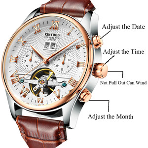 Image 5 - KINYUED 2019 Skeleton Tourbillon Mechanical Watch Automatic Men Classic Rose Gold Leather Mechanical Wrist Watches Reloj Hombre