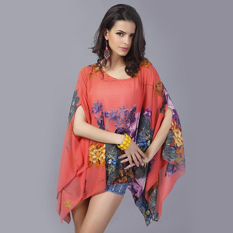 HTB12ER1LXXXXXaaXFXXq6xXFXXXm - Boho Batwing Sleeve Chiffon Blouse Women Casual Floral Kimono Shirts