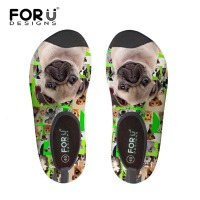 FORUDESIGNS Unisex Rubber Swimming Shoes Doggy Green Printing Scuba Diving Shoes 3mm Surf Socks Light Weight