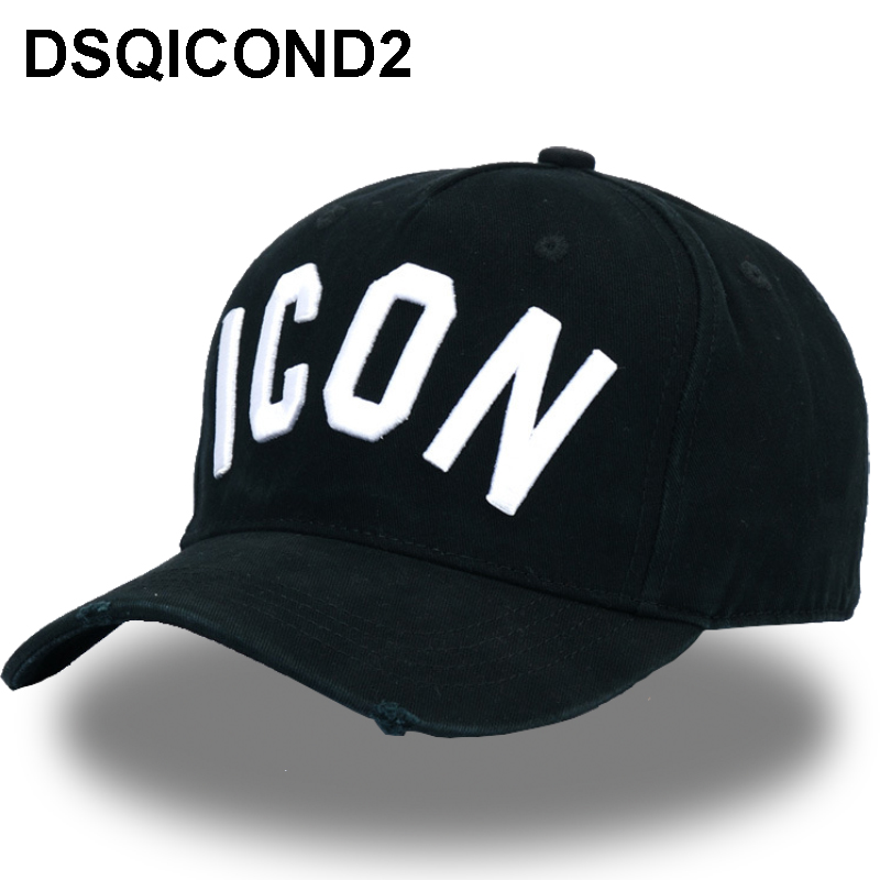 DSQICOND2 Wholesale Cotton Baseball Caps ICON Logo DSQ Letters High Quality Cap Men Women Customer Design Hat Black Cap Dad Hats(China)