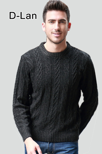 Black Pullover Vintage Sweaters Men Cable Knit Sweater Winter Mens