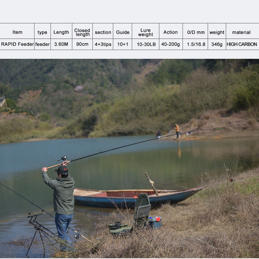 feeder fishing rod spinning rod travel Portable 3.6m 40-200g carp fresh water fishing rod OBEI