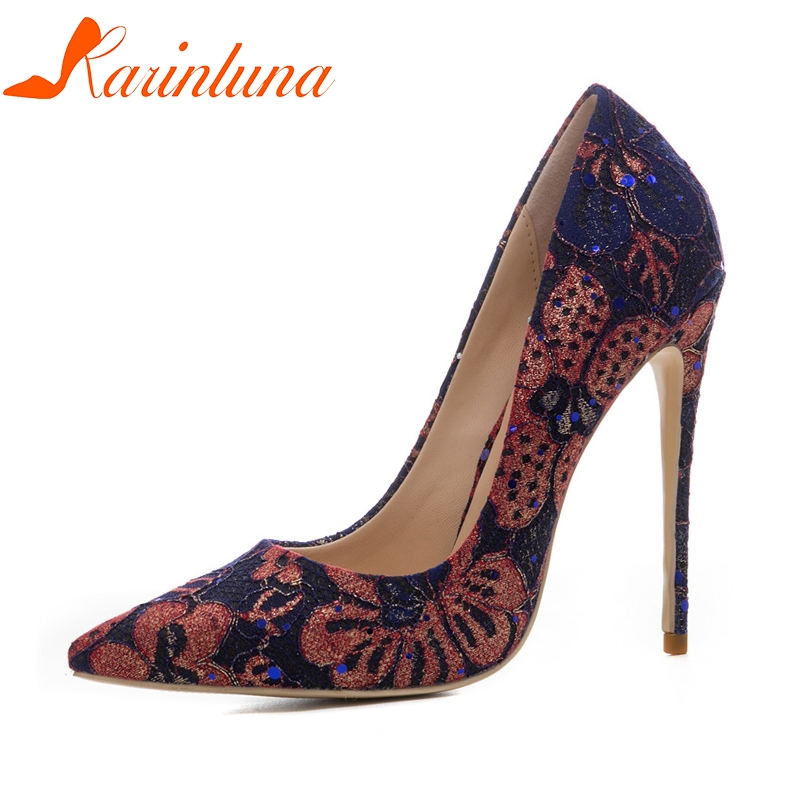 KARINLUNA womens Lace Sequined Cloth Thin High Heels Pointed Toe slip-on Shoes Woman Casual Pumps Green Plus Size 33-45