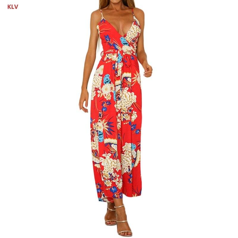 KLV Womens Floral Printed Jumpsuit Sleeveless Sexy Wide Leg Split Long Pant Romper