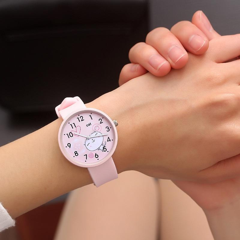 Girls Boys Cute Cats Pattern Kids Watch Women Simple Casual Quartz Watch Ladies Fashion Wristwatches Children Watches Best Gift