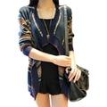 Suéter Mujeres de la Capa de Nueva Otoño Invierno Temperamento Nacionales Viento Flojo Striped Knit Cardigan Ropa Vintage Vestidos LXJ280