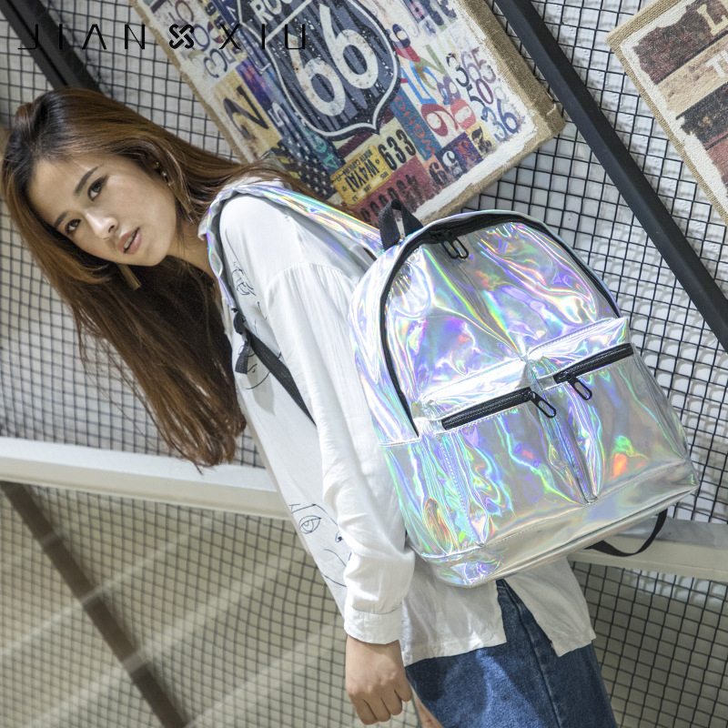 JIANXIU Women Female Holographic Backpack Big Laser Daypack Bag For Teenage Girls Students School Bag Backpack Mochila Ruck in Backpacks from Luggage Bags
