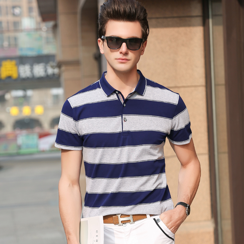 2019 New Fashion Brand Clothes   Polo   Shirts Men Korean Top Grade Summer Slim Fit Short Sleeve Striped Cotton Casual Men Clothes