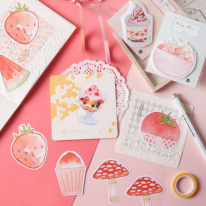 Luankong Creative Food Ice Cream Memo Pad Sticky Notes Paper Sticker Notepad Kawaii Stationery Pepalaria Office School Supplies