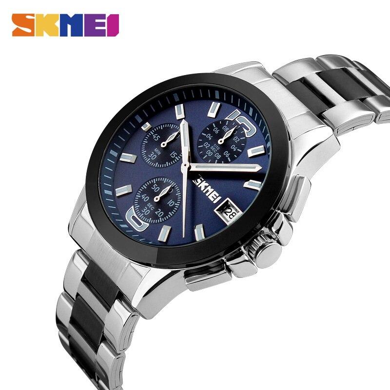 SKMEI marque de mode hommes montre à Quartz étanche multi fonction fermoir caché montre bracelet électronique numérique chronomètre horloge-in Montres à quartz from Montres    1