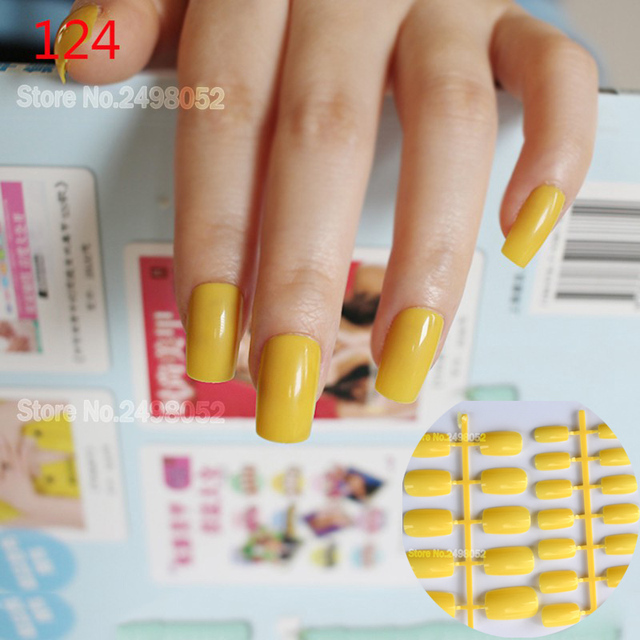 False Nails 24pcs Long Full Cover Artificial Fake Tips Candy Bright Yellow Design Nail Acrylic