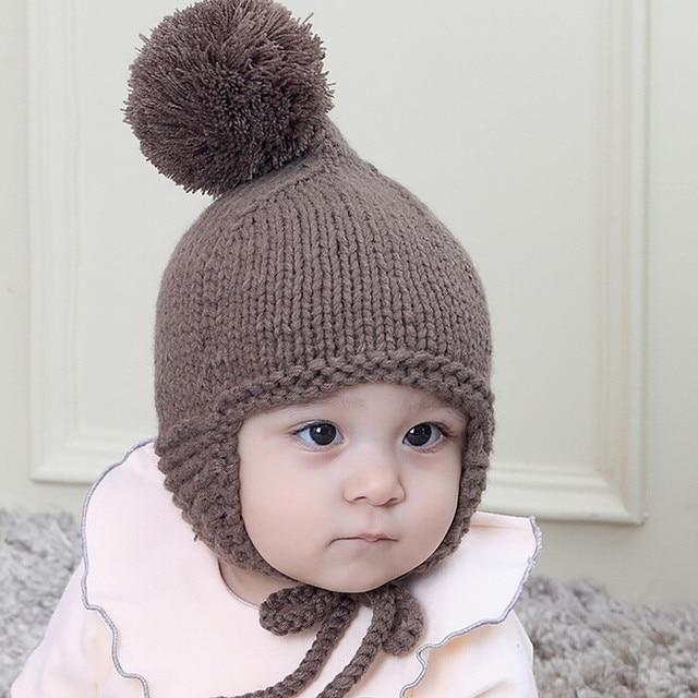 Baby Boy Hat Girls Cap Kids Toddler Baby Hat Boys Girls Wool Earflaps  Children Knitting Winter Warm Ball Hats Cap 2acb58975f8a