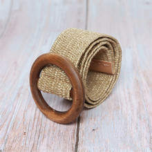 HUOBAO Wooden Braided Belt Ladies Casual Dress Belt High Quality Waist Woven cummerbund Elastic Woman Belt Waistband