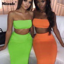 Missufe Sexy 2 Piece Set Strapless Crop Tops And Bodycon Skirts Nightclub Womens Suits Female Backless Casual  Matching Sets