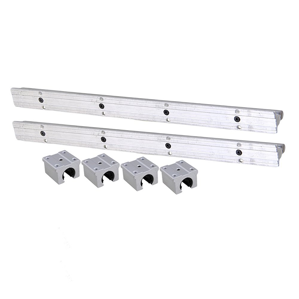 Silver Open Roller Bearing Slide Block & L 400mm SBR12 Linear Bearing Rail Guide with 12mm Dia Shaft for CNC Machine Set of 6 silver open roller bearing slide block